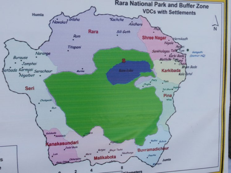 Map of Rara lake