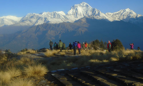 Trekkers in the poon hill view point early in the monring
